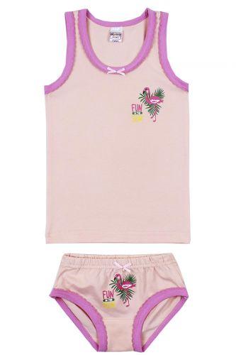 """Комплект белья для девочек Bonito kids 2-6 лет """"Фламинго"""" бежевый"""