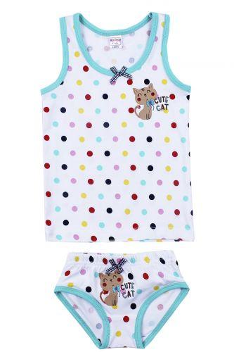 """Комплект белья для девочек Bonito kids 2-6 лет """"Cute Cat"""" белый"""