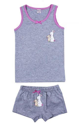 """Комплект белья для девочек Bonito kids 7-11 лет """"Кролики"""" серый меланж"""