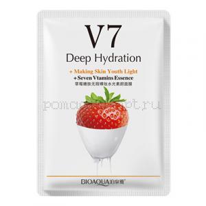 Маска для лица Bioaqua V7 Deep Hydration 30g с экстрактом клубники