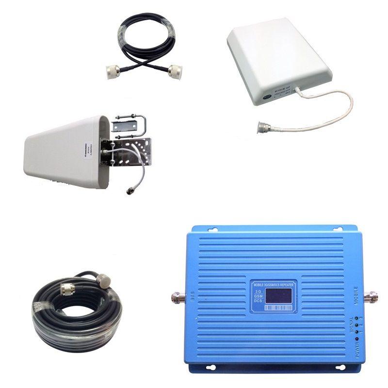 Трехдиапазонный усилитель сигнала Mobile 3G/GSM/DCS Repeater (900 мГц/1800 мГц/2100 мГц) с монитором - комплект