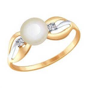 Кольцо из золота с жемчугом и фианитами 791030 SOKOLOV