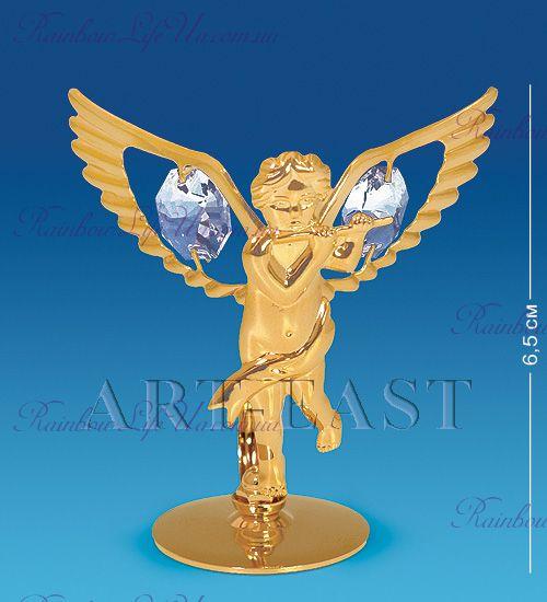 "Фигурка ангел с флейтой с камнями ""Swarovski"""