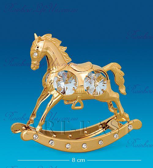 "Статуэтка лошадка - качалка с камнями ""Swarovski"""