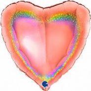 "Сердце, розовое золото, голография, 18""/ 46 см, Grabo"