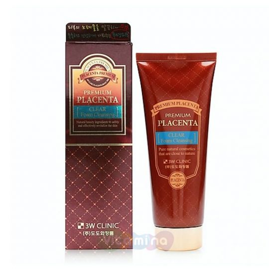 3W CLINIC Омолаживающая пенка для умывания с экстрактом плаценты Premium Placenta Clear Foam Cleansing, 180 мл