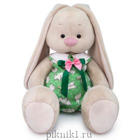 Зайка Ми Большой в зеленом комбинезоне с кроликами 34 см