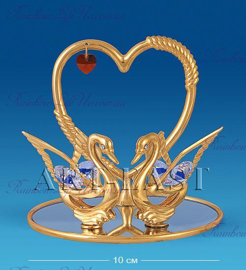 "Фигурка сердце с лебедями с камнями ""Swarovski"""