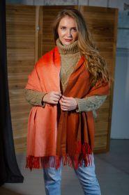 Роскошная классическая шотландская  шаль, высокая плотность, 100 % драгоценный кашемир, Оранжевый Омбрэ ORANGE OMBRE CASHMERE STOLE (премиум)