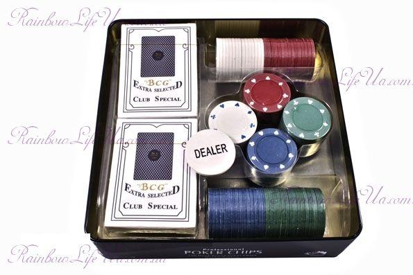 """Набор для игры в покер в оловянной коробке 100 фишек, 2 колоды карт """"Duke"""""""