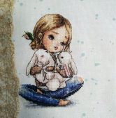 "Digital cross stitch pattern ""Eared hugs""."