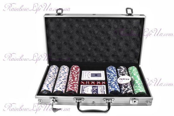 """Набор для игры в покер в алюминиевом кейсе 300 фишек, 2 колоды карт """"Duke"""""""