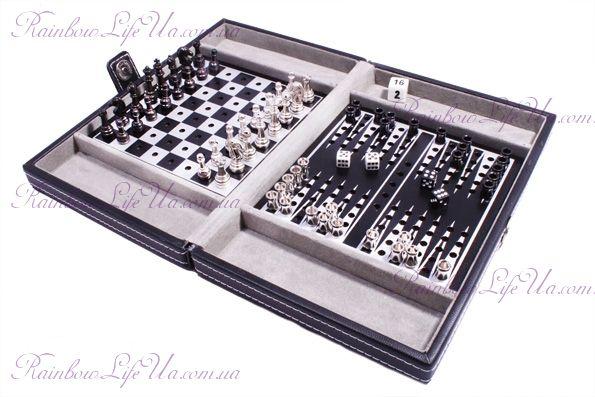 """Дорожный игровой набор из 3 игр в кожаном кейсе: шахматы, шашки, нарды """"Duke"""""""