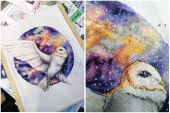 Digital cross stitch pattern Space owl.