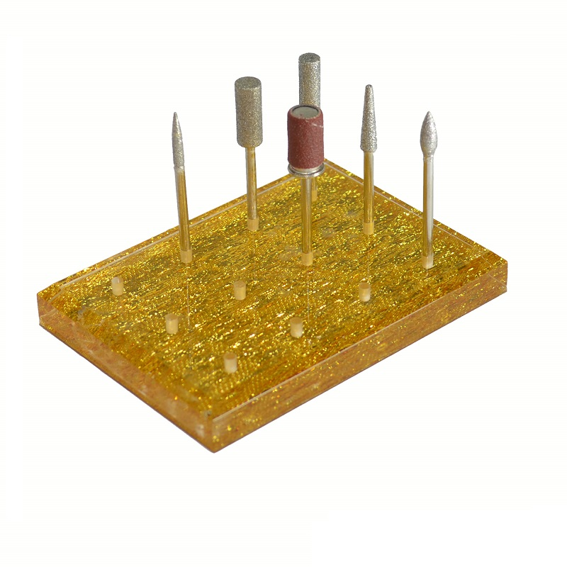 Подставка акриловая под фрезы (12 фрез) золото