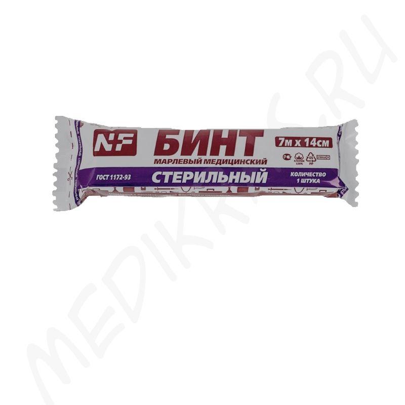 Бинт медицинский марлевый 7мх14см стерильный 36г/м2 NF