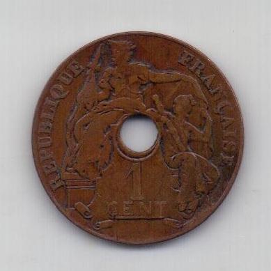1 цент 1920 года Редкий! Индокитай Франция