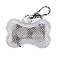 Светодиодный брелок-адресник с информационной наклейкой для собак Косточка, Цвет Белый (2)