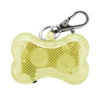 Светодиодный брелок-адресник с информационной наклейкой для собак Косточка, Цвет Желтый (2)