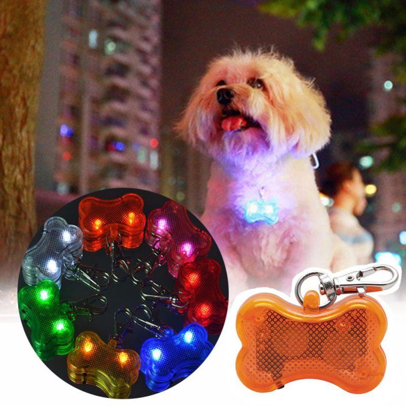 Светодиодный Брелок-адресник с Информационной Наклейкой для Собак Косточка, Цвет Оранжевый