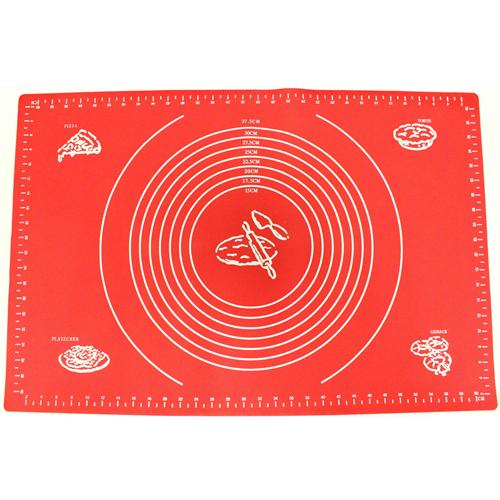 Силиконовый коврик для раскатывания теста, 30х40 см, цвет - красный.