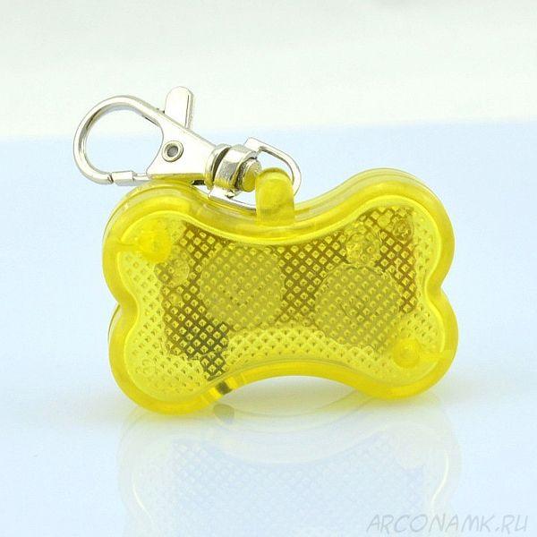 Светодиоидный брелок-адресник с информационной наклейкой для собак Косточка, Цвет: Желтый