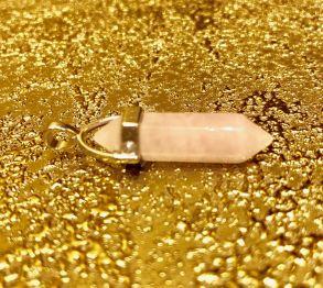 Биолокационный маятник натур камень Розовый кварц в металле