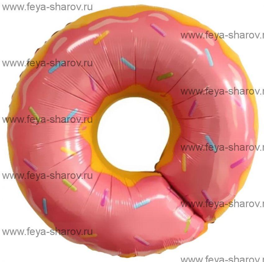 Шар пончик розовый 69 см