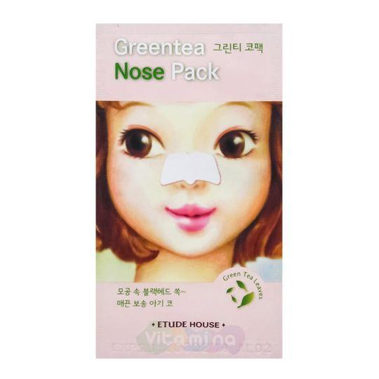 Etude House Очищающие полоски с экстрактом зеленого чая для носа Green Tea Nose Pack