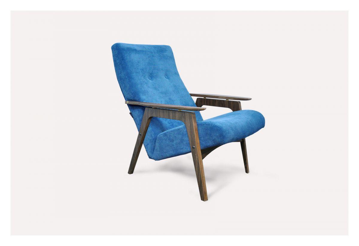Кресло Каллисто (синее, вельвет) модерн середины 20 века (Sputnikfurniture)