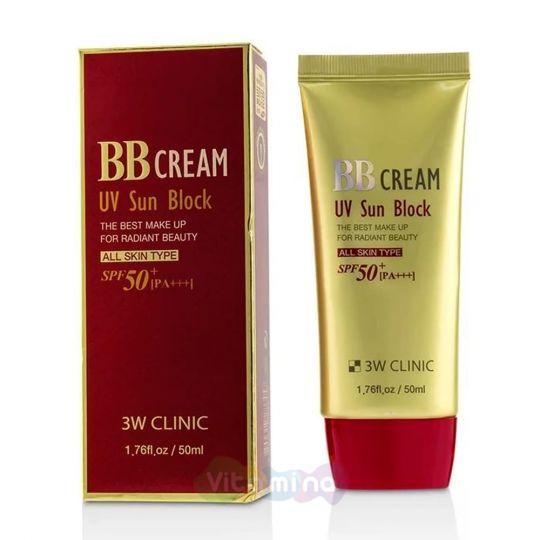 3W CLINIC Солнцезащитный ВВ крем UV Sun Block BB Cream SPF50+/PA, 50 мл
