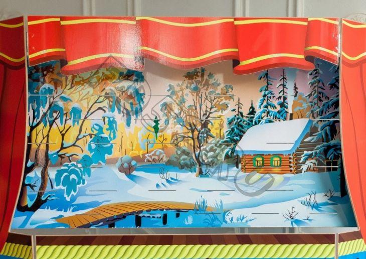 Экран для кукольного театра зима-деревня