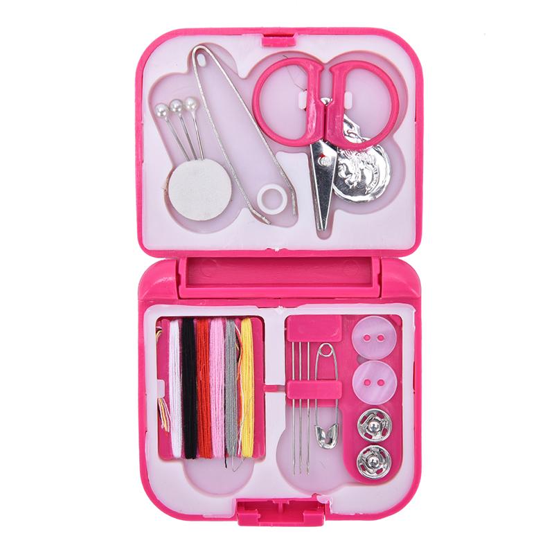Дорожный Набор Швейных Принадлежностей В Футляре, 15 предметов, Цвет Розовый