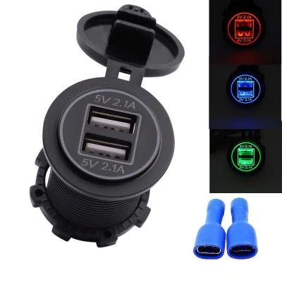 Автомобильная USB-розетка, ток до 3A, 2 USB порта (3 цвета)