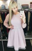Розовое блестящее платье с сеткой и пышной юбкой