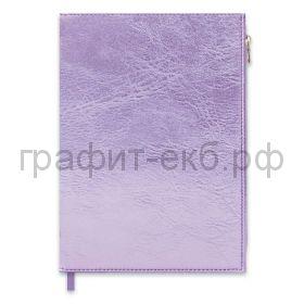 Книжка зап.Феникс+ А5 ШЕВРО карман на молнии сиреневый металлик кл+лин+точка 192с.47643