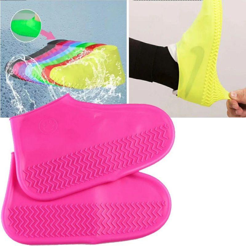 Водонепроницаемые Защитные Чехлы для Обуви Waterproof Silicone Shoe Cover, Размер M, Цвет Розовый