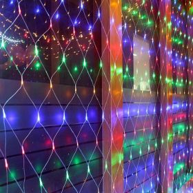 Гирлянда сетка большая на окно влагостойкая 6 х 4 метра цветная