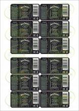 Наклейки на бутылку Джек Дэниелс (черные), 12 шт.