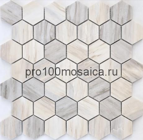 Мозаика Pietrine Hexagonal - Nuvola rosato полированная 292x298х7 мм (чип 23х40х7 мм)