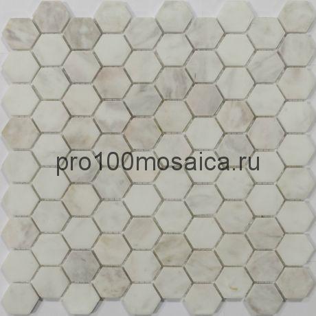 Мозаика Pietrine Hexagonal - Dolomiti Blanco матовая 29,5x30,5х0,6 см (чип 18х30х6 мм)