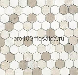 Мозаика Pietrine Hexagonal - Pietra Mix 3 матовая 29,5x30,5х0,6 см (чип 18х30х6 мм)