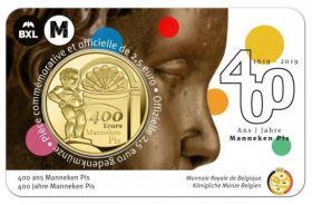 """400 лет статуе-фонтану """"Писающий мальчик"""" 2,5 евро Бельгия  2019 блистер на заказ"""