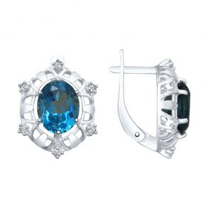 Серьги из серебра с синими топазами 92022022 SOKOLOV