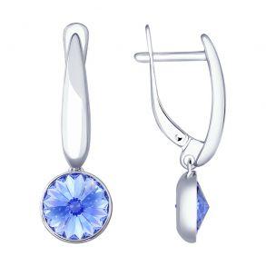 Серьги из серебра с синими кристаллами Swarovski 94022873 SOKOLOV