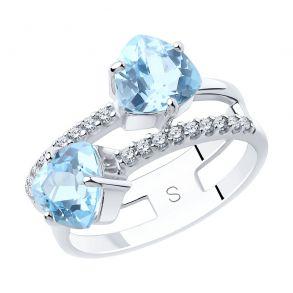 Кольцо из серебра с топазами и фианитами 92011885 SOKOLOV