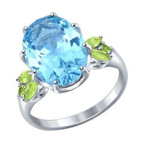 Кольцо из серебра с крупным ситаллом и зелёными фианитами 92011217 SOKOLOV