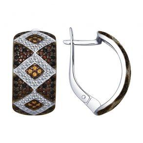 Серьги из серебра с бесцветными, жёлтыми, коричневыми и чёрными фианитами 94022551 SOKOLOV