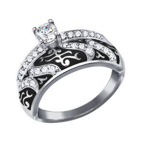 Кольцо из серебра с эмалью с фианитами 94011129 SOKOLOV