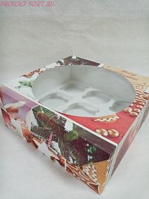 Коробка для капкейков, маффинов 9 шт. 235х235х100 ПРЯНИК